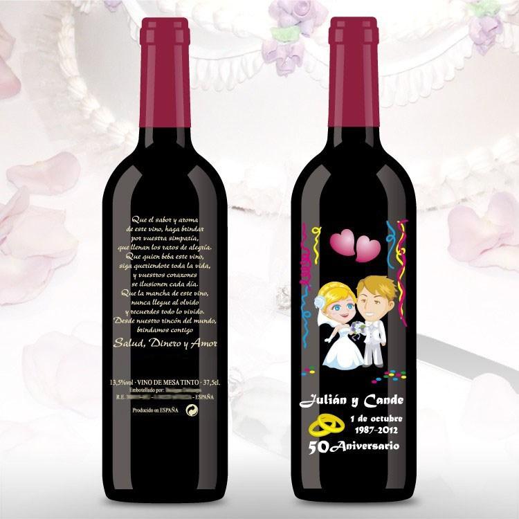 Botella de vino de 50 aniversario rubios for Obsequios boda