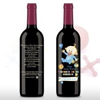 Botellas De Vino Para Regalar En Bautizos.Botella De Vino De Bautizo Con Bebe