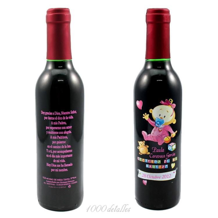 Botellas De Vino Para Regalar En Bautizos.Botella De Vino De Bautizo Con Nena