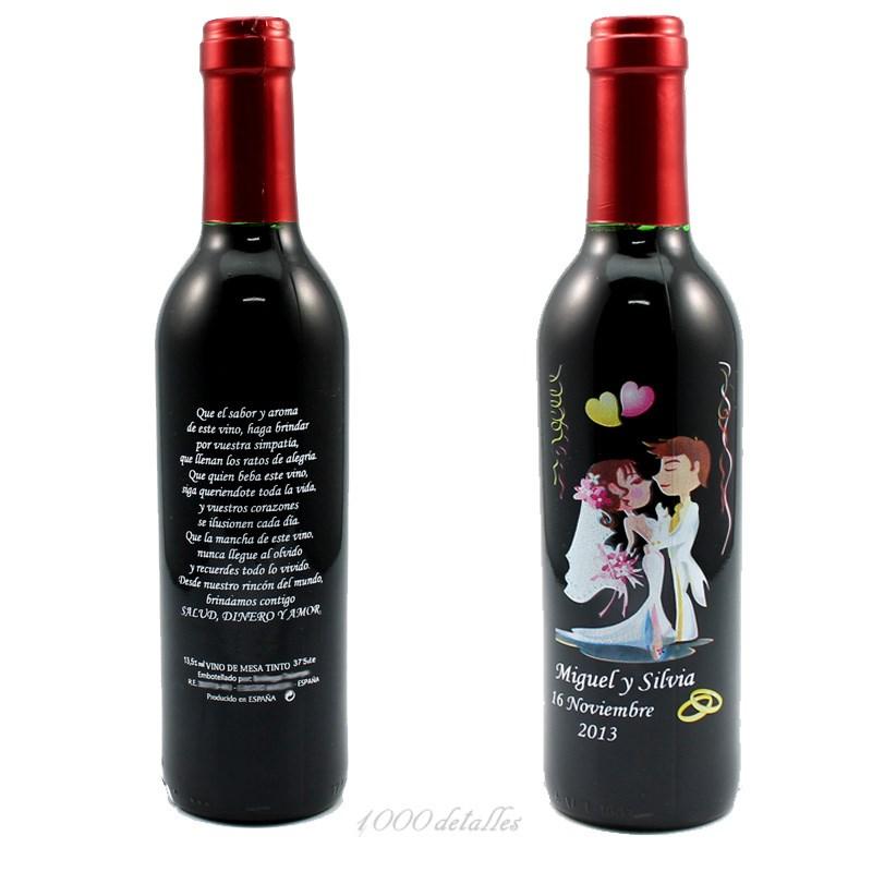 Botella de vino para boda con grabado - Botelleros de vino ...
