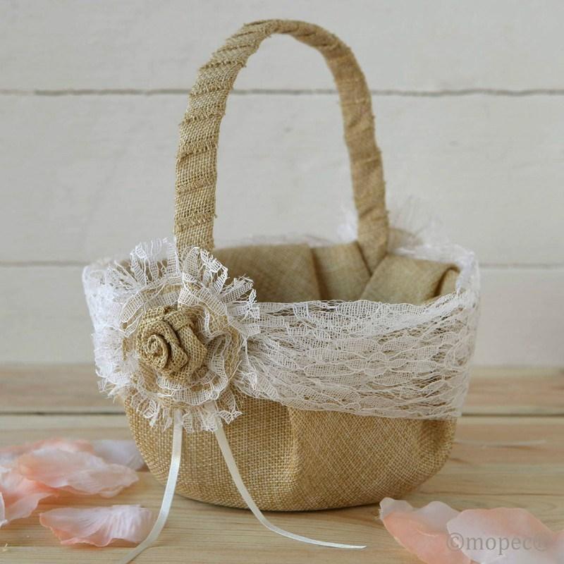 Cesta r stica de boda - Como adornar cestas de mimbre ...