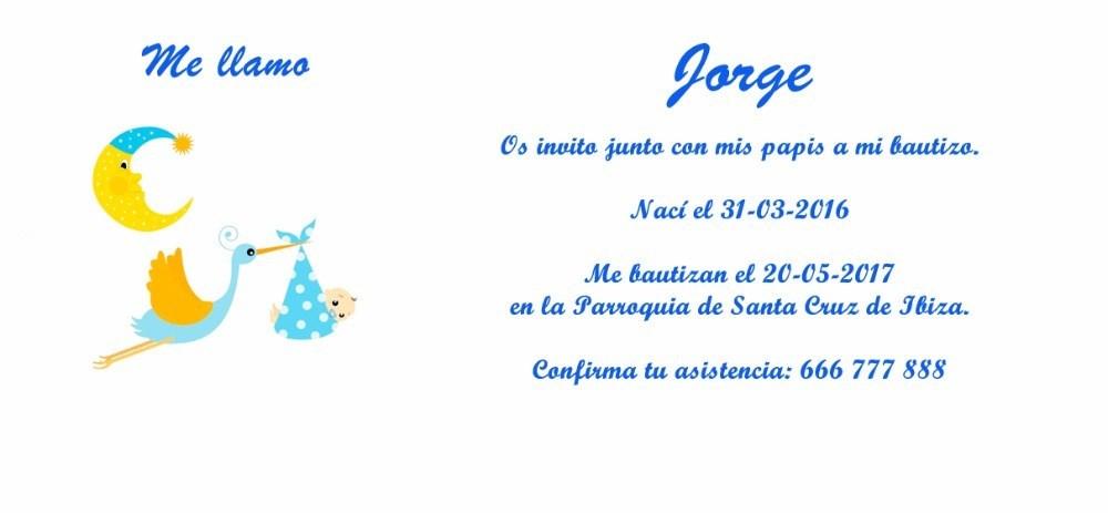 Invitación De Bautizo Con Cigüeña Y Bebé