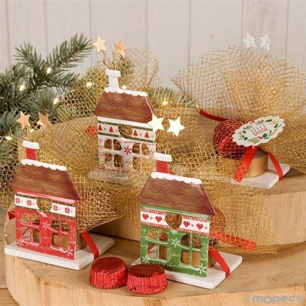 Porta velas de casa de navidad con chocolates - Porta velas navidenas ...