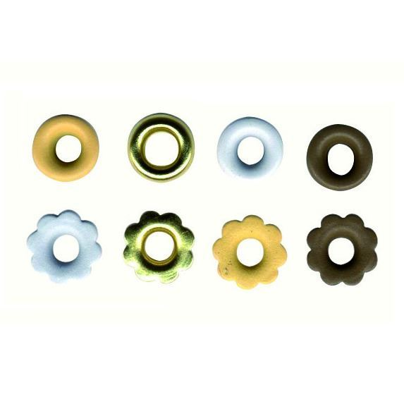 Set 64 eyelets marrones, dorado y blanco
